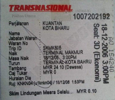 Bus Ticket 18-12-06